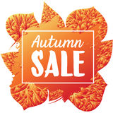 Poster. Autumn sale with leaves. Gradient orange-red color. EPS 8 Stock Images