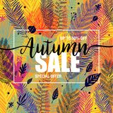 Poster autumn sales on a floral multicolor trendy background. Card, label, banner design element. Vector illustration Royalty Free Stock Images