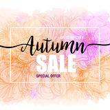Poster autumn sales on a floral watercolor background. Card, label, flyer, banner design element. Vector illustration. Poster autumn sales on a floral watercolor Stock Illustration