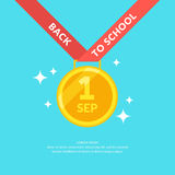 Poster Back to school. Modern graphics, Gold medal on a blue background Royalty Free Stock Image