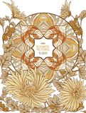 Poster, background with space for text and decorative flowers in art nouveau style Stock Images
