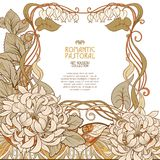 Poster, background with space for text and decorative flowers in art nouveau style Stock Photography