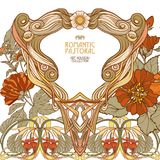 Poster, background with space for text and decorative flowers in art nouveau style Royalty Free Stock Photo