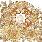 Poster, background with space for text and decorative flowers in art nouveau style Royalty Free Stock Photography