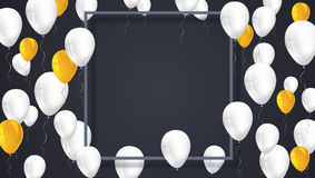 Poster background with white, yellow balloons and frame with shadow.  Template, decoration element for  invitati. Poster background with white, yellow balloons Royalty Free Stock Photography