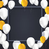 Poster background with white, yellow balloons and frame with shadow.  Template, decoration element for  invitati. Poster background with white, yellow balloons Stock Photo