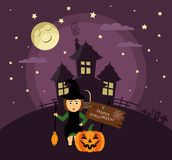 Poster, banner or background for Halloween Party night with haunted house. Witch with broom,pumpkin, moon and stars. Stock Photography