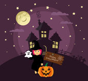 Poster, banner or background for Halloween Party night with haunted house. Witch,pumpkin, moon and stars. Royalty Free Stock Image