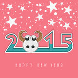 Poster, banner or card for Happy New Year 2015. Happy New Year 2015 celebration concept with stylish text, sheep face and stars on pink background Royalty Free Stock Images