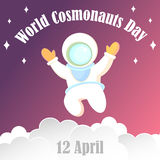 Poster, banner, card for the world cosmonauts day. The astronaut in a white diving suit and a large helmet. Royalty Free Stock Photos