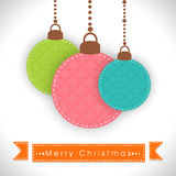 Poster or banner for Christmas celebration. Hanging decoration balls with stylish text of Merry Christmas on ribbon Stock Photo