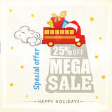 Poster or banner for Christmas mega sale. Stock Photos