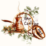 Poster or banner with coffee plastic cups painted in watercolor. Coffee vector design with fresh coffee, grains and branches. Hot morning coffee Royalty Free Stock Images