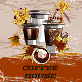 Poster or banner with coffee plastic cups painted in watercolor. Coffee vector illustration with mugs and maple leafs. Coffee house Stock Photos