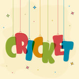 Poster or banner for Cricket Sports concept. Poster, banner or flyer with colorful hanging text Cricket on decorated background Stock Photography