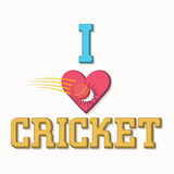 Poster or banner for Cricket. Stylish text I Love Cricket with illustration of red ball hitting the heart on white background Royalty Free Stock Photos