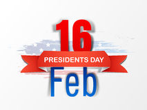 Poster or banner design for American Presidents Day celebration. Glossy text 16 Feb with red ribbon for American Presidents Day celebration on national flag stock illustration