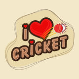 Poster or banner design for Cricket. Creative poster or banner design with stylish text I Love Cricket and red ball Stock Photo
