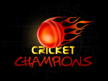 Poster or banner design for Cricket. Red ball in fire with shiny text Cricket Champions on hi-tech background, can be used as poster or banner design Royalty Free Stock Images