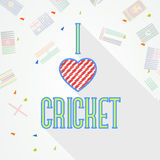 Poster or banner design for Cricket. Stylish text I Love Cricket on different countries flags decorated background, can be used as poster or banner design Stock Photo