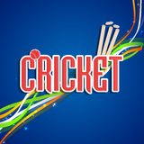 Poster or banner design for Cricket. Stylish text Cricket with red ball, wicket stumps and national tricolor stripes on shiny blue background, can be used as Stock Images