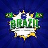 Poster or banner design, 3D text Brazil. Poster or banner design, 3D text Brazil on pop art sticker with halftone effect on blue rays background. Brazilian royalty free illustration