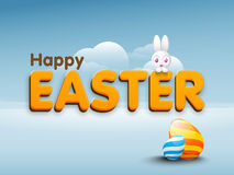 Poster or banner design for Happy Easter celebration. Stock Photo