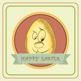 Poster or banner design for Happy Easter celebration. Royalty Free Stock Photo
