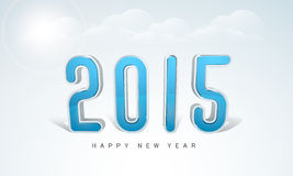 Poster or banner design for Happy New Year 2015 celebration. Happy New Year celebrations with stylish text 2015 on cloudy background, can be used as poster or Stock Photography
