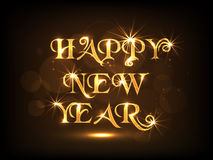 Poster or banner design for Happy New Year 2015 celebration. Poster, banner or flyer for Happy New Year 2015 celebration with golden text on shiny brown Stock Photography