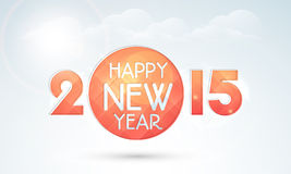 Poster or banner design for Happy New Year 2015 celebration. Stylish text Happy New Year 2015 on cloudy background, can be used as poster or banner design Stock Images