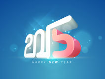 Poster or banner design for Happy New Year 2015 celebrations. Happy New Year celebrations poster or banner design with 3D text 2015 on shiny blue background Stock Images