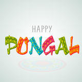 Poster or banner design for Happy Pongal festival celebrations. South Indian harvesting festival celebrations with stars decorated colorful text Happy Pongal on Royalty Free Stock Images