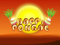 Poster or banner design for Happy Pongal festival celebrations. Royalty Free Stock Photography
