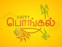Poster or banner design for Happy Pongal festival celebrations. Royalty Free Stock Photo