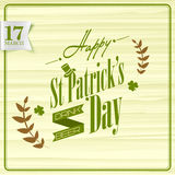 Poster or banner design for Happy St. Patricks Day. Creative poster or banner design for Happy St. Patricks Day celebration with shamrock leaves and wheat grain Stock Photography