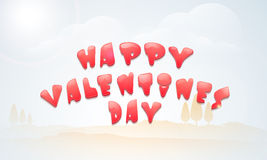 Poster or banner design for Happy Valentines Day. Poster, banner or flyer with red text Happy Valentines Day on winter nature background Royalty Free Stock Photos