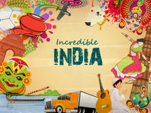 Poster or banner design of Incredible India. Incredible India, a glance of Indian religion culture with modern transportation on grungy background, can be used Royalty Free Stock Image