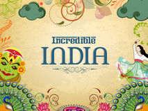 Poster or banner design of Incredible India. Incredible India, a glance of traditional Indian dances with National Bird Peacock and Flower Lotus on grungy Royalty Free Stock Image