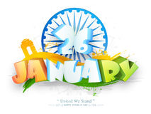 Poster or banner design for Indian Republic Day celebration. Royalty Free Stock Image