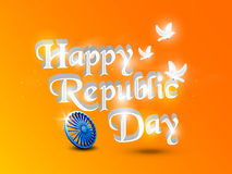 Poster or banner design for Indian Republic Day celebration. Glossy text Happy Republic Day with 3D Ashoka Wheel and pigeons on orange and yellow background Stock Images