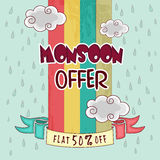 Poster or banner design for Monsoon offer. Royalty Free Stock Image