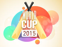 Poster or banner design for World Cup 2015. World Cup 2015 poster or banner design with bats and ball on colorful abstract background Royalty Free Illustration
