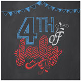 Poster, banner or flyer for American Independence Day. American Independence Day celebration poster, banner or flyer decorated with creative text 4th of July on Royalty Free Stock Photography