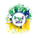Poster, Banner or Flyer for Brazil 2016. Creative Poster, Banner or Flyer design with illustration of different sport players on Brazilian Flag colors abstract royalty free illustration