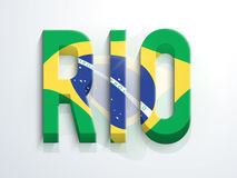 Poster, Banner or Flyer with 3D Text Rio. Creative 3D Text Rio in Brazilian Flag colors on shiny background, Can be used as Poster, Banner or Flyer design Stock Images
