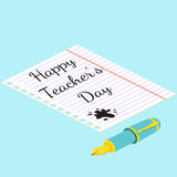 Poster, banner or flyer design with stylish text happy teacher's Stock Photos