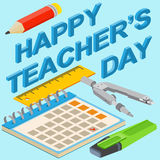 Poster, banner or flyer design with stylish text happy teacher's Stock Image
