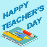 Poster, banner or flyer design with stylish text happy teacher's Stock Photography