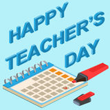 Poster, banner or flyer design with stylish text happy teacher's Royalty Free Stock Photography